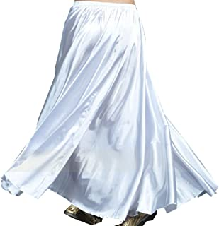 Belly Dance Satin Skirt Arabic Halloween Shiny Skirt Fancy Full Skirt US0-14