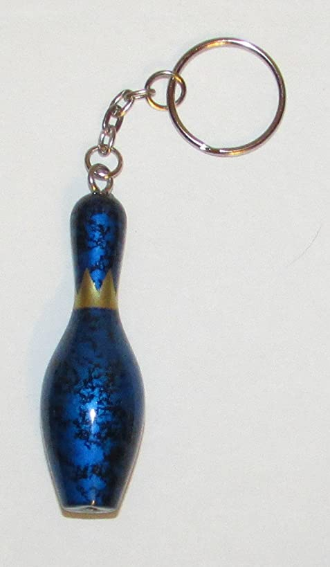 Official Elite BOWLING PIN Blue KEY CHAIN Ring Keychain NEW