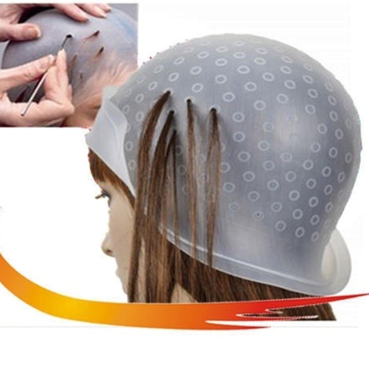 委任マーケティング製造染料フロスティングキャップ、再利用可能なシリコーンヘアカラーリングキャップ、髪を強調するキャップサロンヘアカラーリング染料キャップヘアスタイリングツール髪を染めるための針(トランスペアレント)