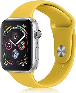 コンパチブル Apple Watch バンド,アップルウォッチ バンドシリコンiWatchバンド38mm/40mmスポーツバンド 交換ベルト 柔らかい,耐衝撃 防汗apple watch series 5/4/3/2/1に対応 (38mm/40mm, 黄色)