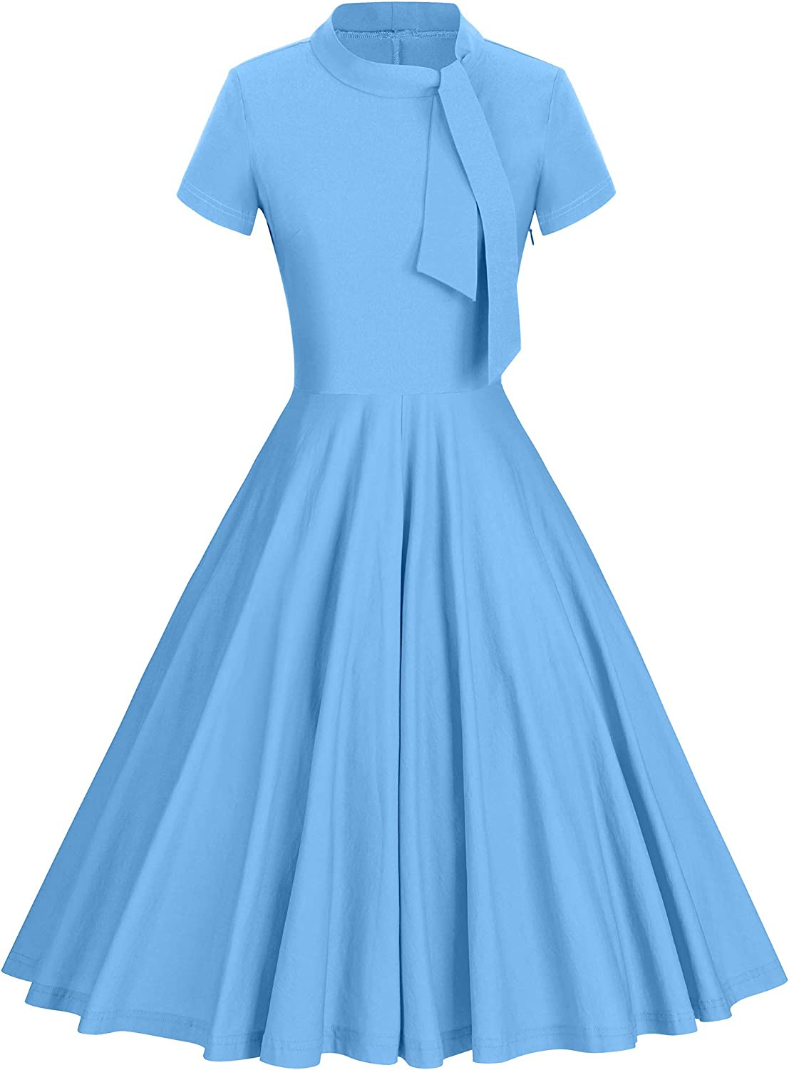 GownTown Women's Retro Style Half Collar Casual Party Swing Dress with Pocket