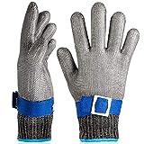 OKAWADACH guantes resistentes a cortes, guantes de carnicero, guantes protectores de trabajo, guantes de malla, Color Azul Nivel 5 Talla L*2