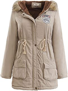 fb9f1461cd3 BOOMJIU Women Long Sleeve Faux Fur Lapel Double-Breasted Thick Wool Coat  Jacket Outwear