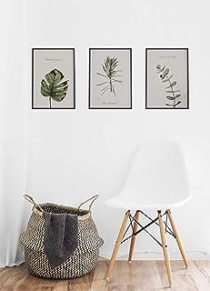 MILUKA Pack de 3 láminas para enmarcar colección FEUILLES (Láminas Hojas Verdes - Naturaleza)   Tamaño 30x40cm