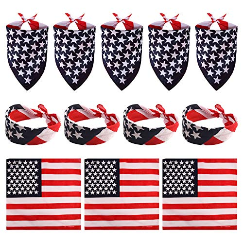FEPITO 12 Pack American Flag Bandanas Headband USA Flag Kerchief and 12Pcs Tattoo Sticker for July 4th, Patriotic Event Accessories