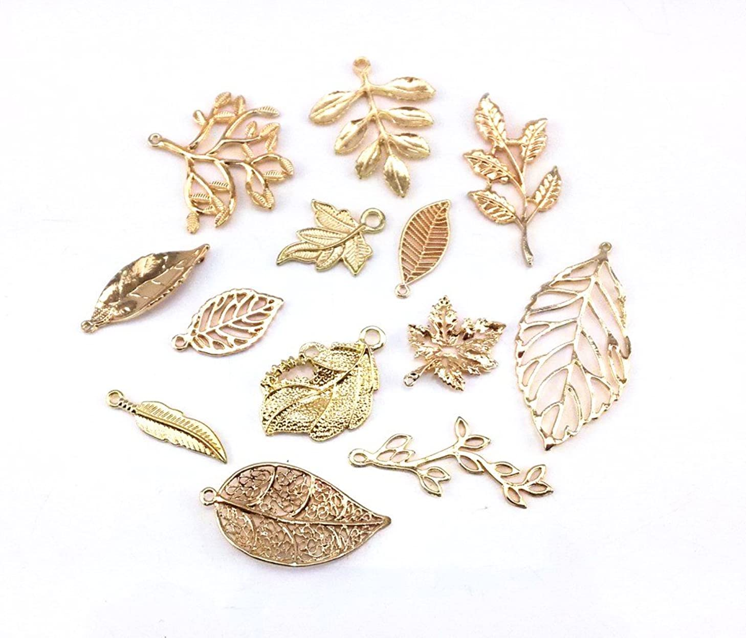 yueton 13pcs Different Style Gold Plated Metal Leaf Shape Charms Pendant DIY Craft Jewelry Making Accessory