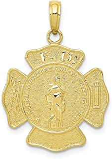 10K Yellow Gold F.D. Saint Florian Medal Maltese Cross Fire Dept. Pendant