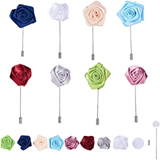 SUNNYCLUE 1 Set Men's Lapel Pin Making Kits- DIY 8pcs Handmade Rose Flower Pins Boutonniere for Suit Wedding Groom