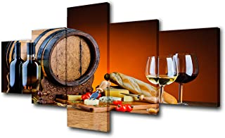 Multi Panel Wall Art Various Cheese and Wine Pictures Still Life Artwork for Living Room..