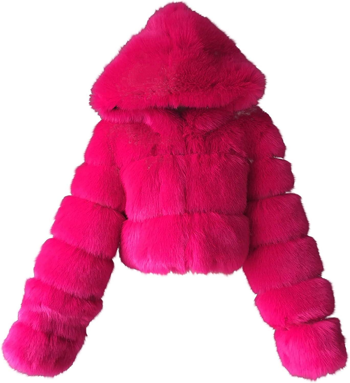 JPGIF Lady Plush Faux Fox Fur Long Sleeve Stitching Hooded Jacket(Hot Pink,L)