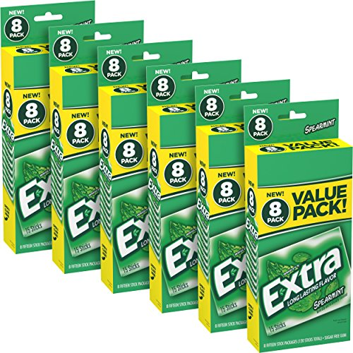 EXTRA Chewing Gum Spearmint Sugar Free Chewing Gum, 8 ct/ box- pack of 6 (total 48 count)