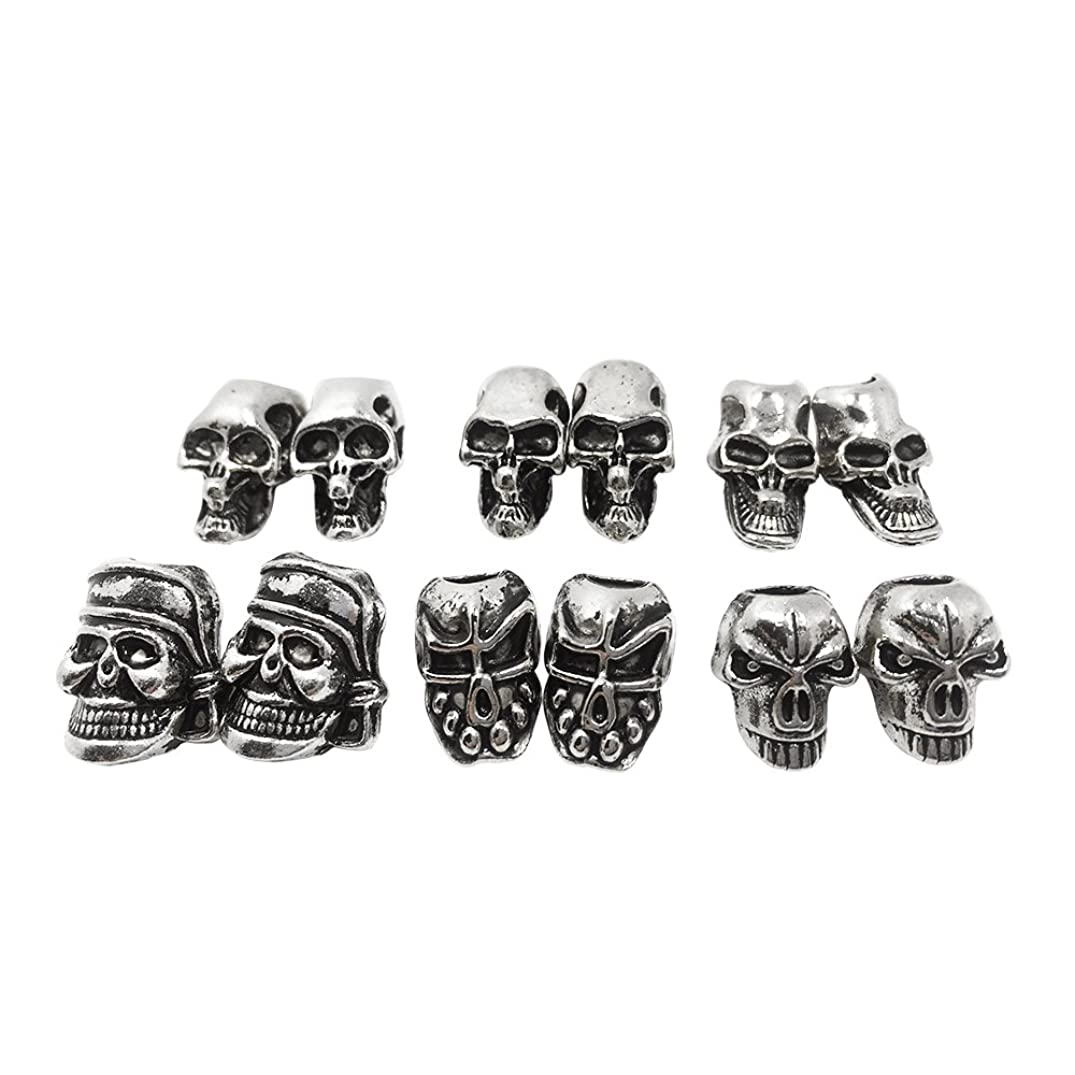 Skull Beads For EDC Outdoor Lanyards,Knife/ Flashlight/ Paracord /DIY Jewelry Charms Accessories (20PCS)