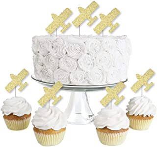 Gold Glitter Airplane - No-Mess Real Gold Glitter Dessert Cupcake Toppers - Baby Shower or Birthday Party Clear Treat Picks - Set of 24