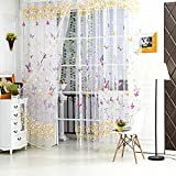 La Cabina Rideau Voilage Chambre Décoration Papillon Floral Tulle Voile Rideau de Fenêtre