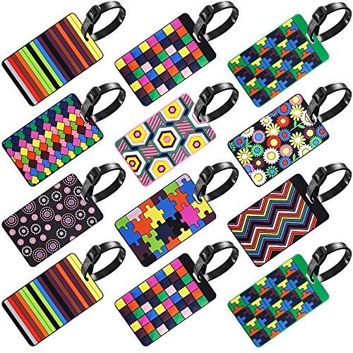 SENHAI Gepäckanhänger, Reisegepäck-Etiketten, Ausweis-Etiketten, Visitenkartenhalter – bunt, 12 Stück