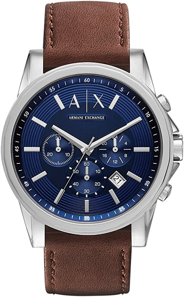 Armani exchange orologio,cronografo da uomo,in acciaio e cinturino in vera pelle AX2501