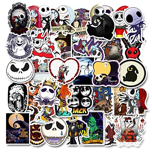 Nightmare Before Christmas Halloween Film Sticker Pack Fans Anime Paster Cosplay Scrapbooking DIY Telefon Laptop Dekoration 50 Stücke