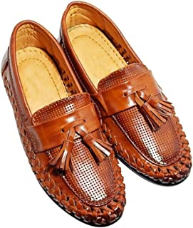 FOOTONREST Boys Latest Brown Color Outdoor Formal Casual Ethnic Daily Use Kids Loafers Shoes 3 Year to 11 Years Kids | Super Comfortable Loafer Shoes for Boys