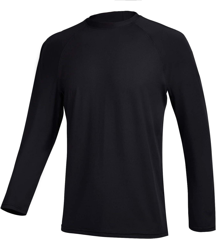TENEMT Men's UPF 50+ Rash Guard Long Sleeves Sun Protection Swim Shirts Athletic Beach Workout Swimwear Loose Fit
