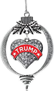 Inspired Silver - Trump Supporter Charm Ornament - Silver Pave Heart Charm Holiday Ornaments with Cubic Zirconia Jewelry