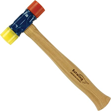Rubber Mallet - 12 oz Double-Face Hammer with Soft/Hard Tips Hickory Wood Handle,Black Red /Yellow