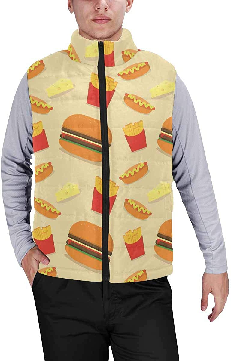 InterestPrint Warm Outdoor Sleeveless Stand Collar Vest for Men Hamburger Fries S