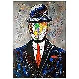 Graffiti Street Art René Magritte Famoso Lienzo Pintar Carteles Hijo del Hombre e Impresiones Pop Art Cuadros para Sala 50x70cm Sin Marco