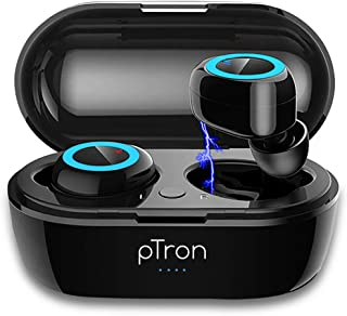 pTron Bassbuds in-Ear True Wireless Bluetooth 5.0 Headphones with Hi-Fi Deep Bass, 20Hrs Playtime with Case, Ergonomic Swe...