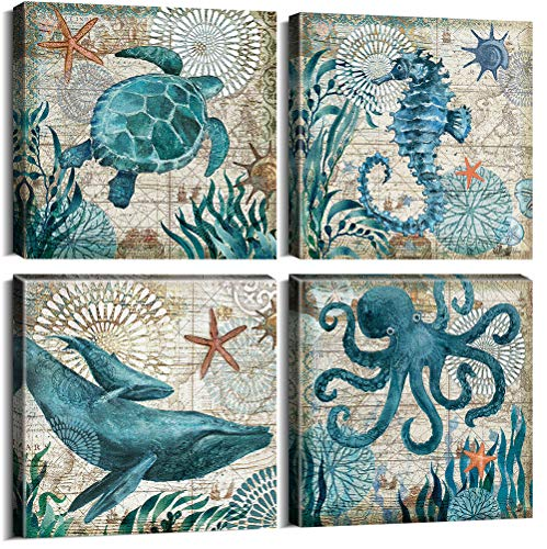 Bathroom Home Decor Turtle Canvas Wall Art Octopus Seahorse Dolphin Beach Posters Decorations Set for Kitchen Teal Ocean Animal Paintings Artwork Pictures Stretched and Framed 12 x 12 Inch x 4 Pcs