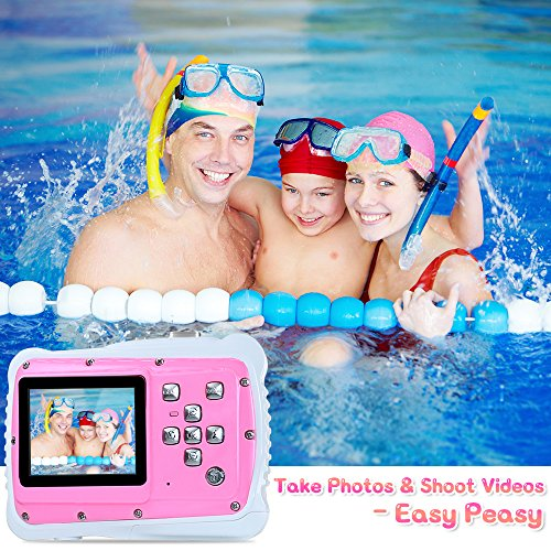 """AIMTOM Kids Underwater Digital Waterproof Camera with 8G microSD Card, 12MP HD Girls Action Camcorder, 2"""" Screen Children Birthday Learn Sports Cam - Floating Wrist Strap (Pink)"""