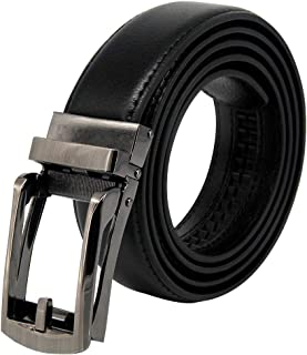 Yamissi Ratchet Leather Belts for Men, with Automatic Buckle, Genuine Leather Duarable Dress Belt fits for Waist Size 28 to 40