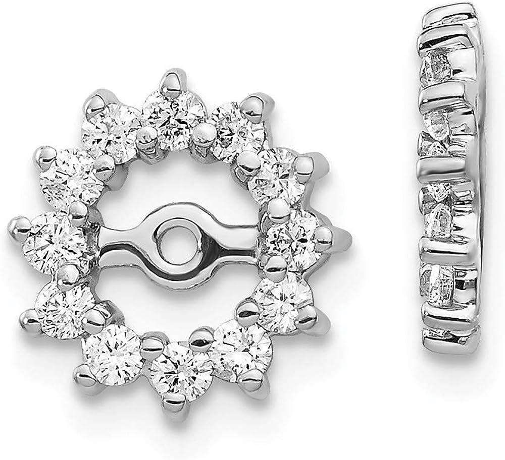 14K White Gold Plated AA Diamond Earring Jackets