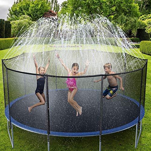 Ohuhu Trampoline Sprinkler for Kids, 15m/49ft Trampoline Spray Water Park, Summer Outdoor Water Game Toys, Trampoline Accessories for Boys Girls Summer Fun