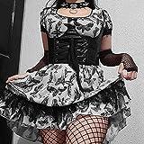 ZKRZ Gótico Grunge Encaje Mujeres Mini Vestidos Punk Aesthetic EMO Verano Manga Corta Vestido De Fiesta Mariposa Impresión Clubwear-Negro_Metro
