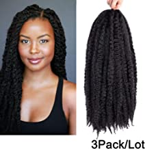 Carina 3 Bundles Afro Kinkys Curly Hair Extensions Long Afro Kinky Marley Twist Braiding Hair For Women And Girl (18 inch, 1B#)