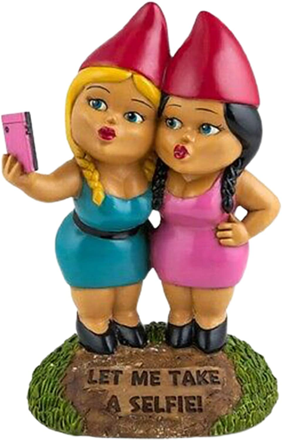 """WEIXIE Christmas Garden Gnome Statue, """"LET ME TAKE A Selfie"""" Two Sisters Model Miniature Doll Figurine for Lawn Ornaments, Indoor or Outdoor Xmas Decorations"""