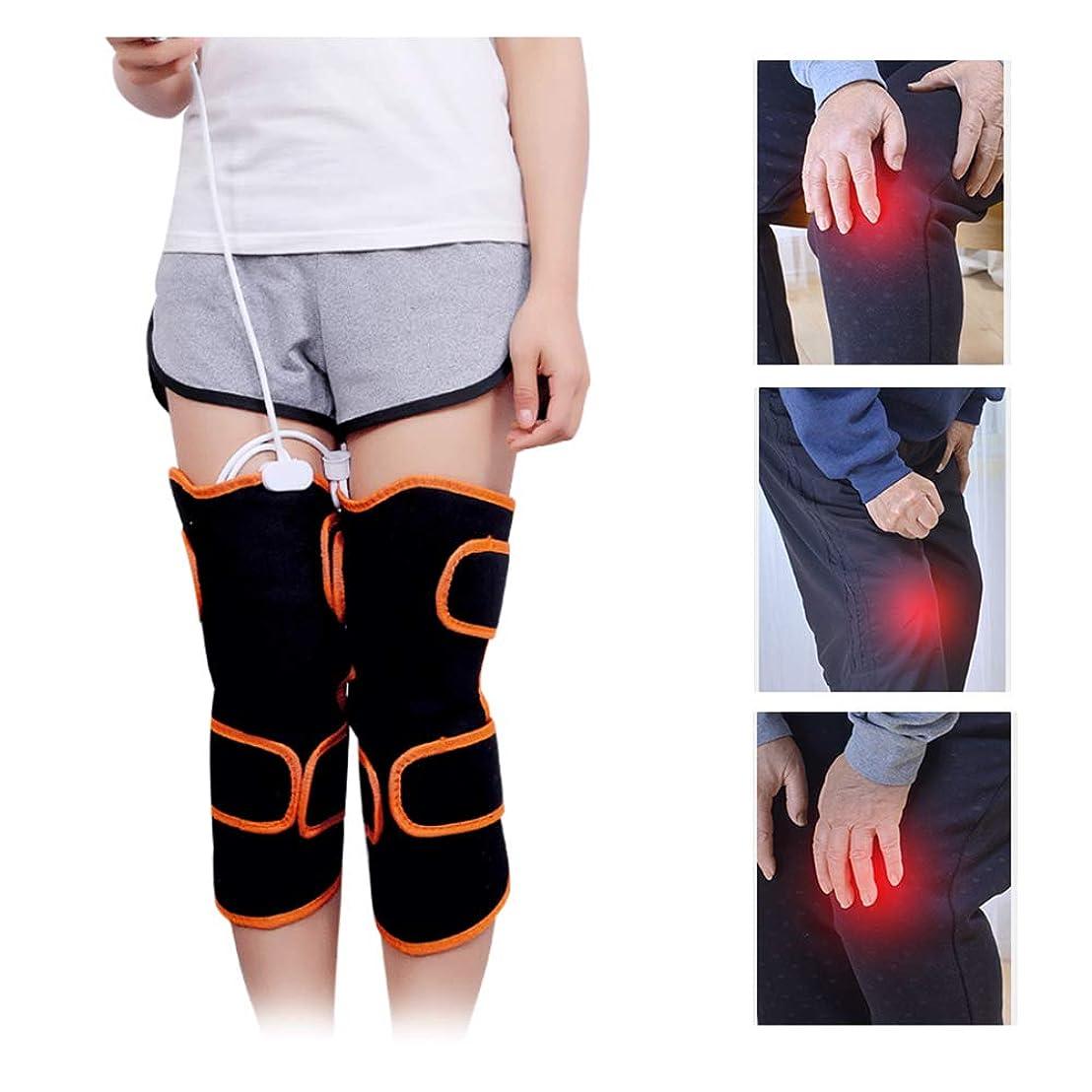 著作権フライカイト過度に9種類のマッサージモードと5種類の速度の膝温熱パッド付き加熱膝装具-膝の怪我、痛みを軽減するセラピーラップマッサージャー