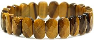 Gem Semi Precious Gemstone 14mm Faceted Oval Beads Stretch Bracelet 7