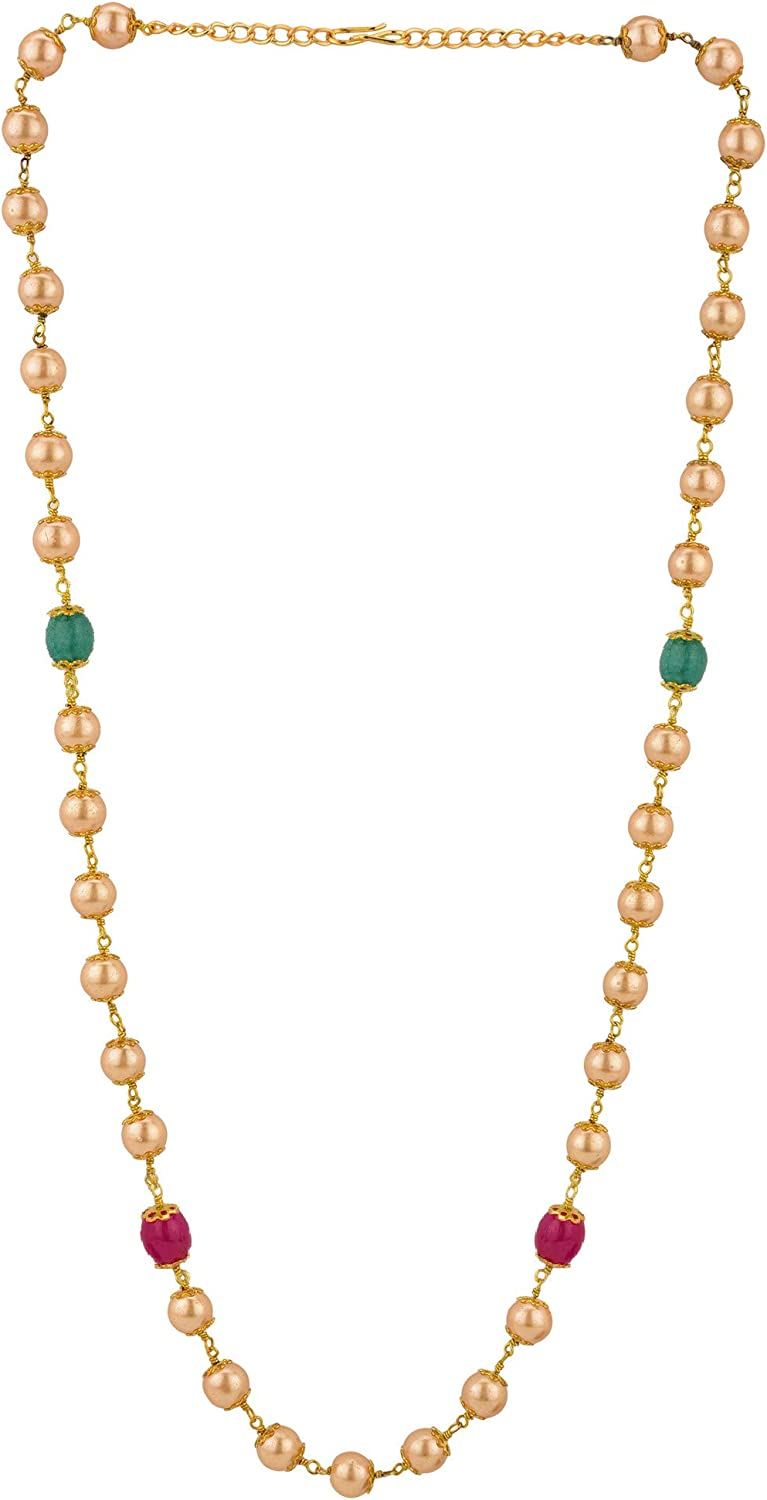 Efulgenz Indian 14 K Gold Plated Faux Black Pearl Chain Necklace Beads Strand Fashion Costume Jewelry