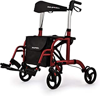 EQUIPMED SmartRoller 2-in-1 Aluminium Rollator and Transit Wheelchair, for Seniors Elderly, Red