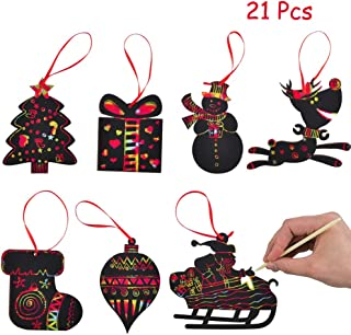 WESJOY Christmas Scratch Ornaments, Magic Rainbow Color Craft Kit Toy with Snowman, Reindeer, Gift Box, Socks, Christmas Tree for Kids Xmas Crafts Art Decorations, 21 Pack