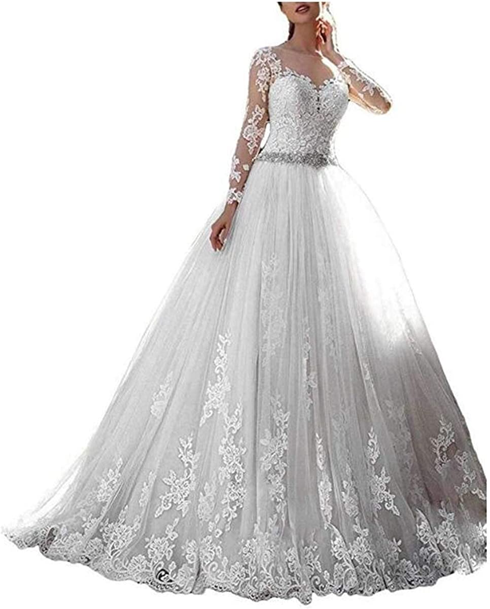 Thrsaeyi Women's 2019 Lace Wedding Dresses Bridal Gowns Long Sleeves Ball Gowns