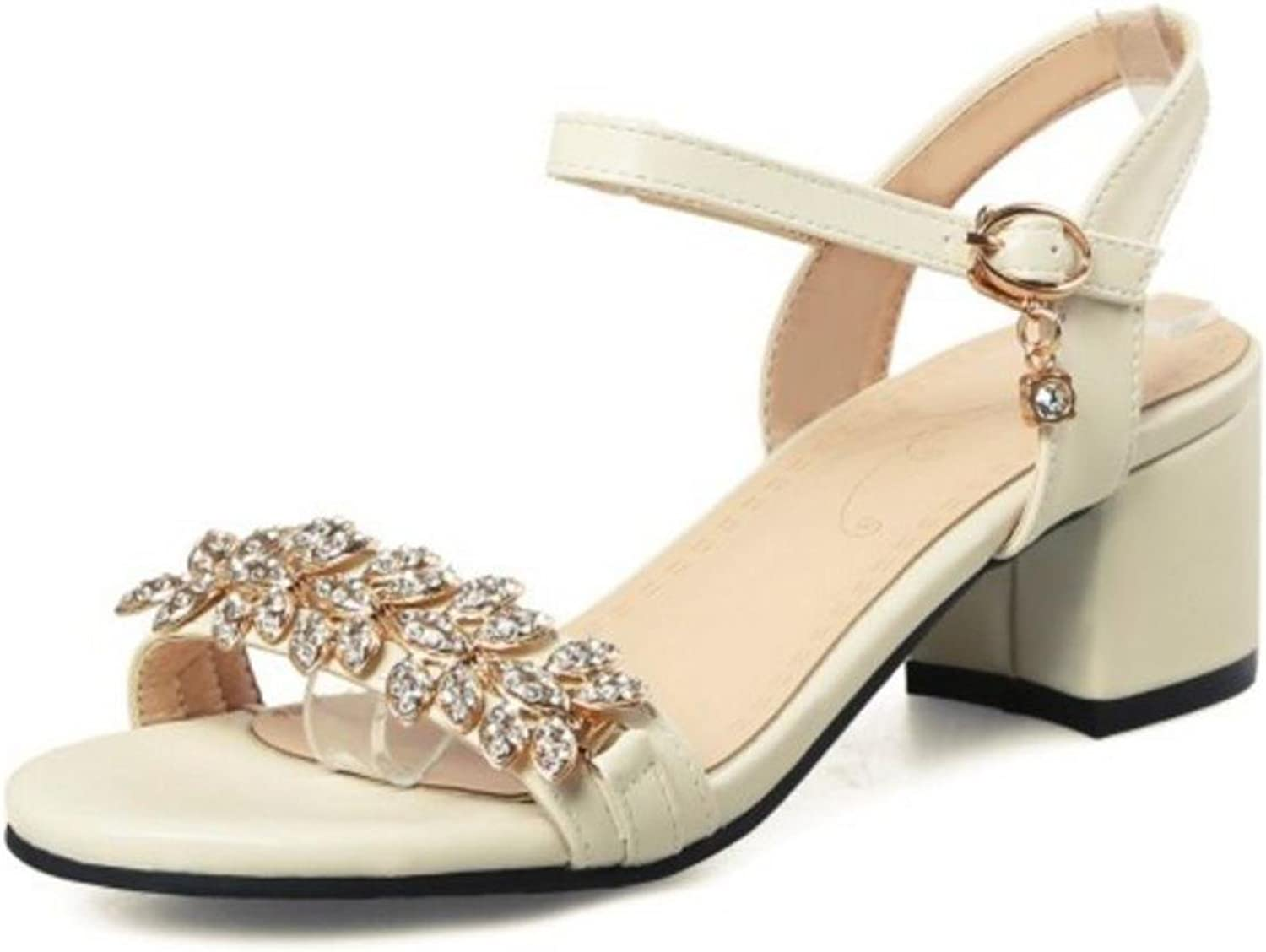 Women Sandals Buckle Crystal Thick Heel Women Sandals Fashion Summer shoes