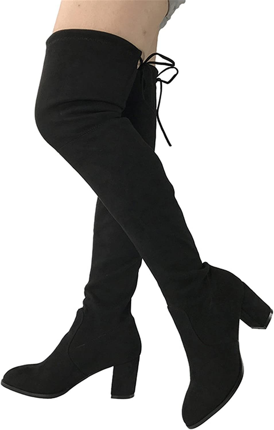 Leroyca Womens Micro Suede Thigh High Boots Block Thick Heel Stretch Over The Knee Boots for Woman Plus Size