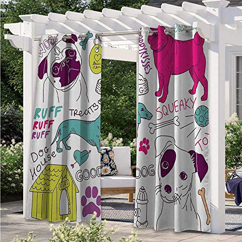 Outdoor Curtain Drapes Love Dogs Doodle Footprint Dog Food Bowl House Ball Toy Play Time Art Fashion Design Outdoor Curtain Drape Good for Keeping The Sun Out Fuchsia Teal purple W55 x L72 Inch