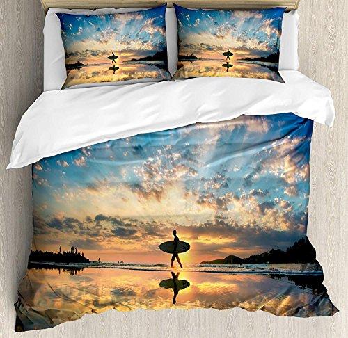 Juego de fundas nórdicas Ride The Wave 3 PCS, Surfer Wal Before Horizon con imagen de encanto costero de cielo nublado, juego de sábanas para niños / adolescentes / adultos / niños, rey sepia azul vio