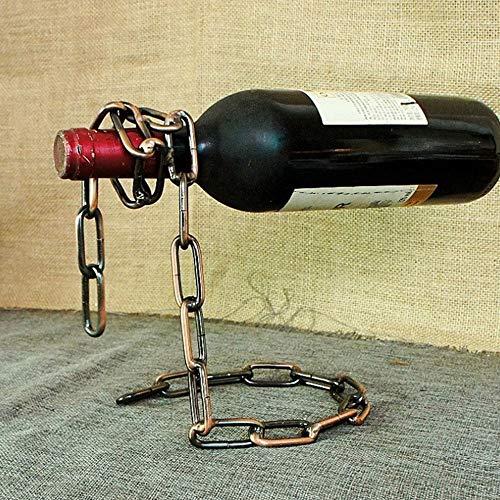 1 supporto in metallo per bottiglie di vino, stile moderno, con corda magica per bottiglie di vino, supporto da tavolo e accessori da tavola.