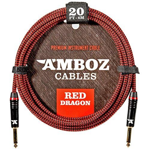 Red Dragon Instrumentenkabel 6m Rot. Geräuschloses Gitarrenkabel für die Elektrische und Bassgitarre - Klinkenstecker 6.35 mm mono (TS) Gerade