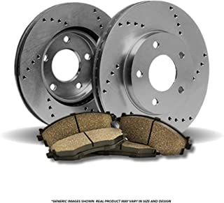 (Front Kit)2 OE SPEC Cross Drilled Brake Rotors & 4 Ceramic Pads(5lug)