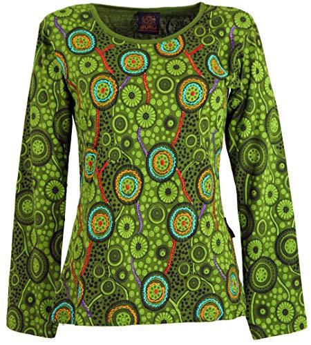 Guru-Shop Besticktes Langarmshirt Hippie Chic Retro, Damen, Grün, Baumwolle, Size:S (36), Pullover, Longsleeves & Sweatshirts Alternative Bekleidung